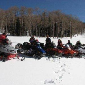 Group spring snow ride